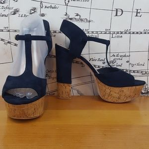 Peep toe dark blue ankle strap pumps high heels